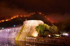 Kotor, Montenegro. Old town and Kotor walls by night, Montenegro Royalty Free Stock Photo