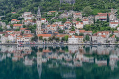 Kotor Montenegro reflection. A view of Kotor, Montenegro of church and building with reflection in sea Royalty Free Stock Images