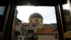 View of the Church of St. Nicholas in Kotor stock footage