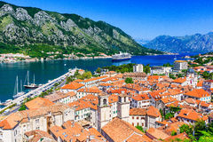 Kotor, Montenegro. View of Bay of Kotor old town from Lovcen mountain royalty free stock image