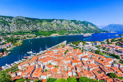 Kotor, Montenegro. View of Bay of Kotor old town from Lovcen mountain royalty free stock images