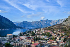 Kotor. Montenegro. View over Boka-Kotorska bay, mountains, sea and old town Stock Photos