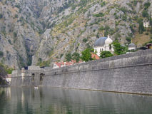Kotor, Montenegro. Walls of ancient fortress and church in the city of Kotor, Montenegro Stock Images