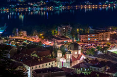 Kotor old town ant Catholic Cathedral at night Royalty Free Stock Photos