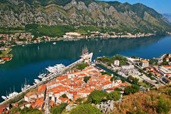 Kotor old town and Boka Kotorska bay Royalty Free Stock Images