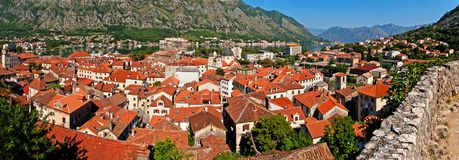 Kotor old town and Boka Kotorska bay Stock Photography