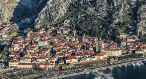 Kotor old town and Boka Kotorska Bay in the early morning, Monte Stock Photography
