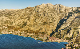 Kotor old town and Boka Kotorska Bay in the early morning, Monte Royalty Free Stock Image