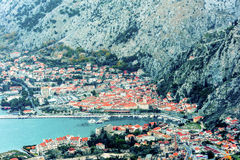 Kotor old town and Boka Kotorska Bay in the early morning, Montenegro Stock Image