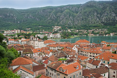 Kotor old town and Boka Kotorska bay, Montenegro Stock Image