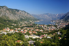 Kotor old town and Boka Kotorska bay, Montenegro Royalty Free Stock Photos