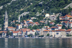 Kotor old town and Boka Kotorska bay, Montenegro Stock Photos