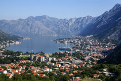 Kotor old town and Boka Kotorska bay, Montenegro Royalty Free Stock Images
