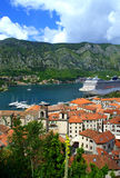 Kotor old town and marina view Stock Images