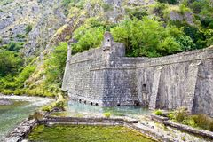 Kotor old town north defensive walls and Scurda river Stock Images