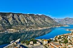 Kotor Podpalany i Stary Grodzki widok, Montenegro Obraz Royalty Free