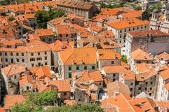 Kotor Podpalany i Stary Grodzki widok, Montenegro Obrazy Royalty Free