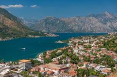 Kotor Podpalany i Stary Grodzki widok, Montenegro Obraz Stock