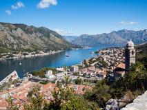 Kotor podpalany i Stary miasteczko od Lovcen góry Montenegro Obraz Stock