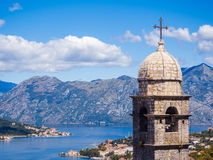 Kotor podpalany i Stary miasteczko od Lovcen góry Montenegro Obraz Royalty Free