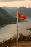 Kotor podpalany i Stary miasteczko od Lovcen góry Montenegro Zdjęcie Royalty Free