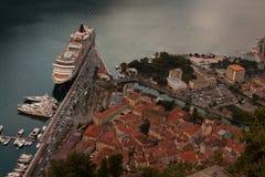 Kotor podpalany i Stary miasteczko od Lovcen góry Montenegro Obrazy Royalty Free