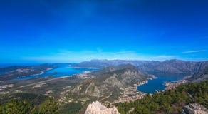 Kotor podpalany panoramiczny widok od above Zdjęcie Stock