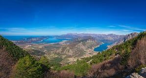 Kotor podpalany panoramiczny widok od above Obrazy Royalty Free