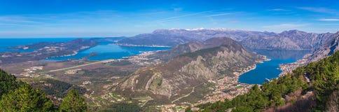 Kotor podpalany panoramiczny widok od above Fotografia Stock