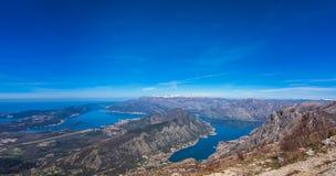 Kotor podpalany panoramiczny widok od above Fotografia Royalty Free