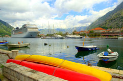 Kotor port vessels Royalty Free Stock Images