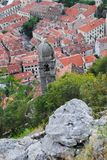 Kotor's old town. The old town of Kotor visible from the fortress, Montenegro Royalty Free Stock Photo