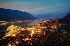 Kotor solnedgång Montenegro royaltyfria foton
