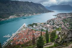 Kotor town and bay view from above stock images