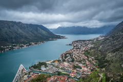 Kotor town and bay view from above royalty free stock images