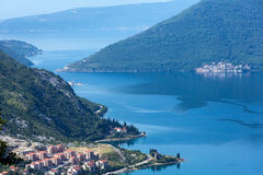 Kotor town on coast  (Montenegro, Bay of Kotor) Royalty Free Stock Image