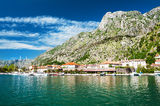 Kotor town. Landscape of Kotor town bay, located under huge mountain, Montenegro Royalty Free Stock Photo