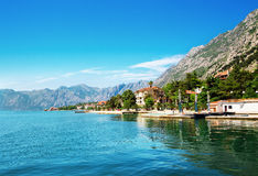 Kotor town. Landscape of Kotor town bay, mountains around, Montenegro Royalty Free Stock Photography