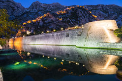 Kotor Walls and Fortress at Night Stock Image