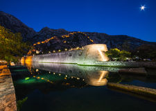 Kotor Walls and Fortress at Night Royalty Free Stock Photos