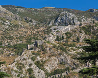 Kotor Walls and Fortress Stock Photo