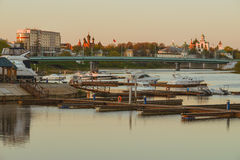 Kotorosl river with boats Royalty Free Stock Image