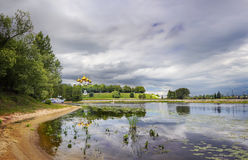 Kotorosl River. Yaroslavl. Russia. Panoramic views of the river Kostorosl, the Assumption Cathedral and the waterfront Arrows from the island Damanskii in Royalty Free Stock Image