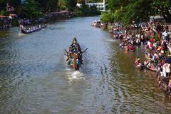 Kottayam Boat Race. Kottayam in Kerala is a land of lakes and lagoons. Naturally, the place takes pride in its boat races too. The long-hulled traditional crafts Stock Photos