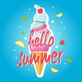 Kotte för Hello sommarglass, färgrik bakgrund royaltyfri illustrationer