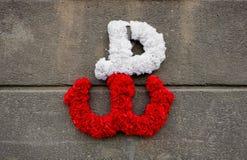 Kotwica - l'emblema della resistenza polacca contro l'occupazione tedesca, fatto dei fiori su un muro di cemento Immagine Stock