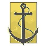 Kotwicowa żółta odznaka Zdjęcia Stock