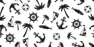 Kotwicowego bezszwowego deseniowego wektorowego łódkowatego drzewko palmowe pirata steru morskiego Nautycznego oceanu lata powtór ilustracja wektor