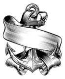 Kotwicowy sztandaru rocznika Woodcut royalty ilustracja