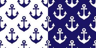 Kotwicowy wektorowy bezszwowy wzór, morski marynarki wojennej błękita powtórkowy tło, nabrzeżna tapeta lub tekstylny projekt, Zdjęcie Royalty Free